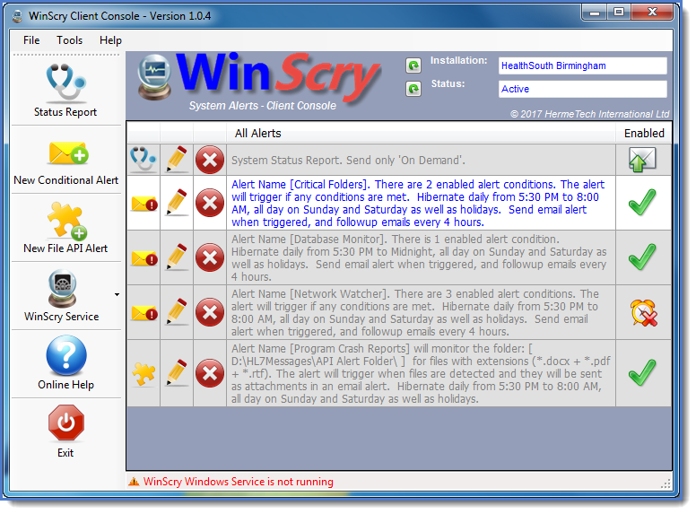 The WinScry Client Console